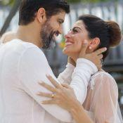 Carol Castro usa vestido de noiva com sobreposição na novela 'Órfãos da Terra'
