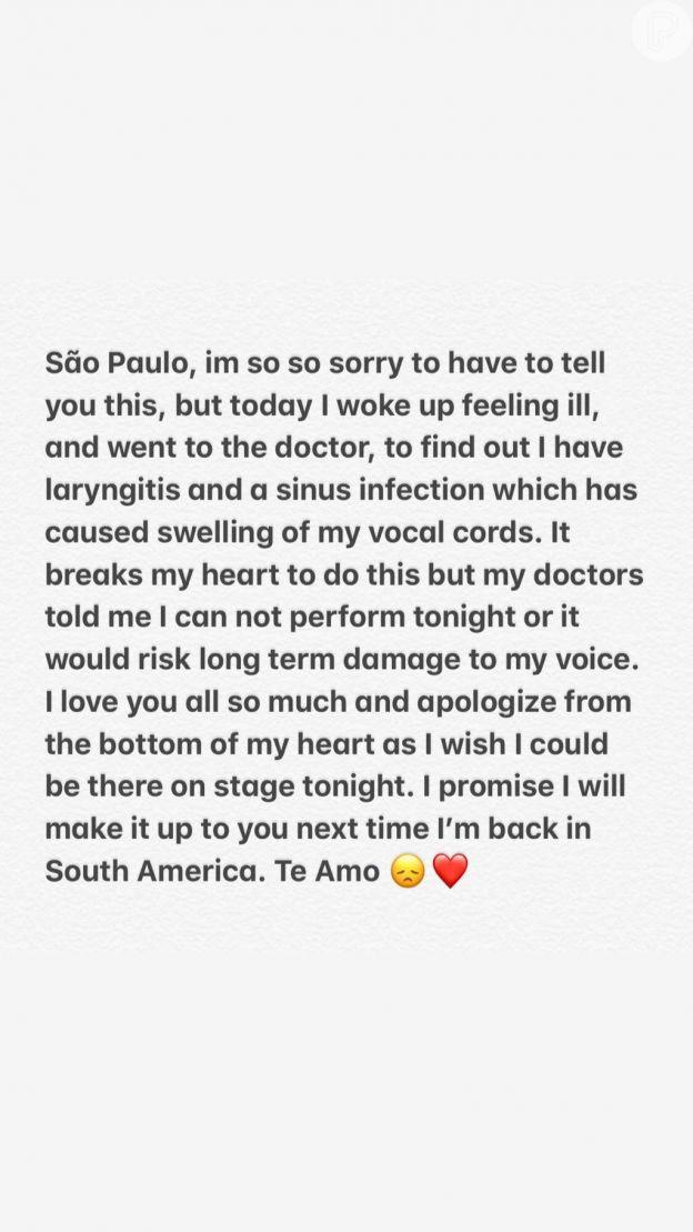 Shawn Mendes lamenta cancelamento de show