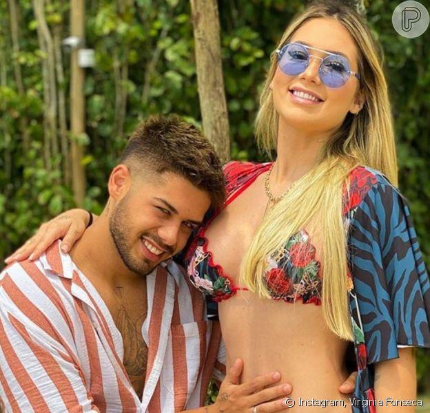 Zé Felipe dá beijo em barriga de gravidez de Virgínia Fonseca