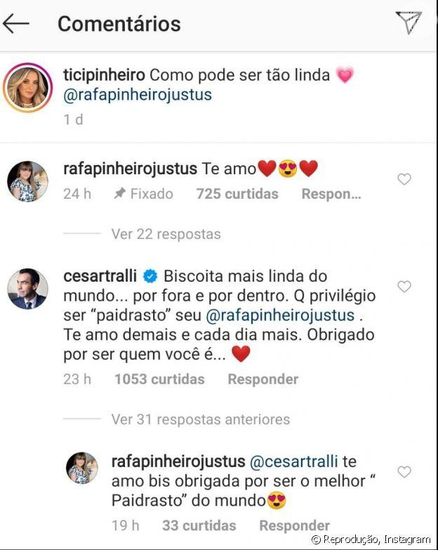 Rafaella Justus responde comentário de Cesar Tralli
