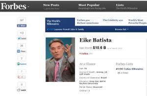 Eike Batista cai 93 posições no ranking da 'Forbes' e perde quase R$ 40 bilhões