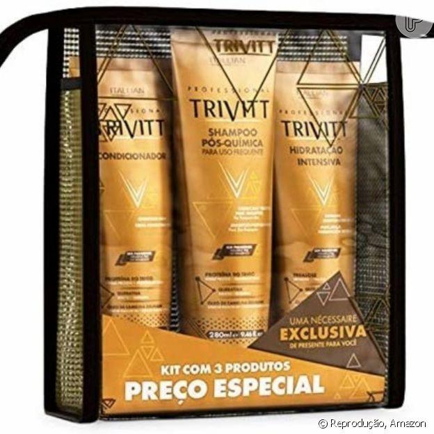 Kit Trivitt com produtos para cabelos com química