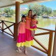 Ticiane Pinheiro combina look com filhas, Rafaella Justus e Manuella