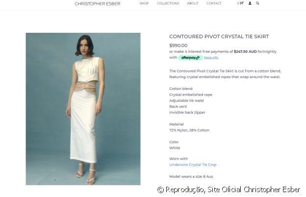 No site da marca, o vestido de Marina Ruy Barbosa é vendido por pouco mais de R$ 5.000,00, na cotação atual do dólar