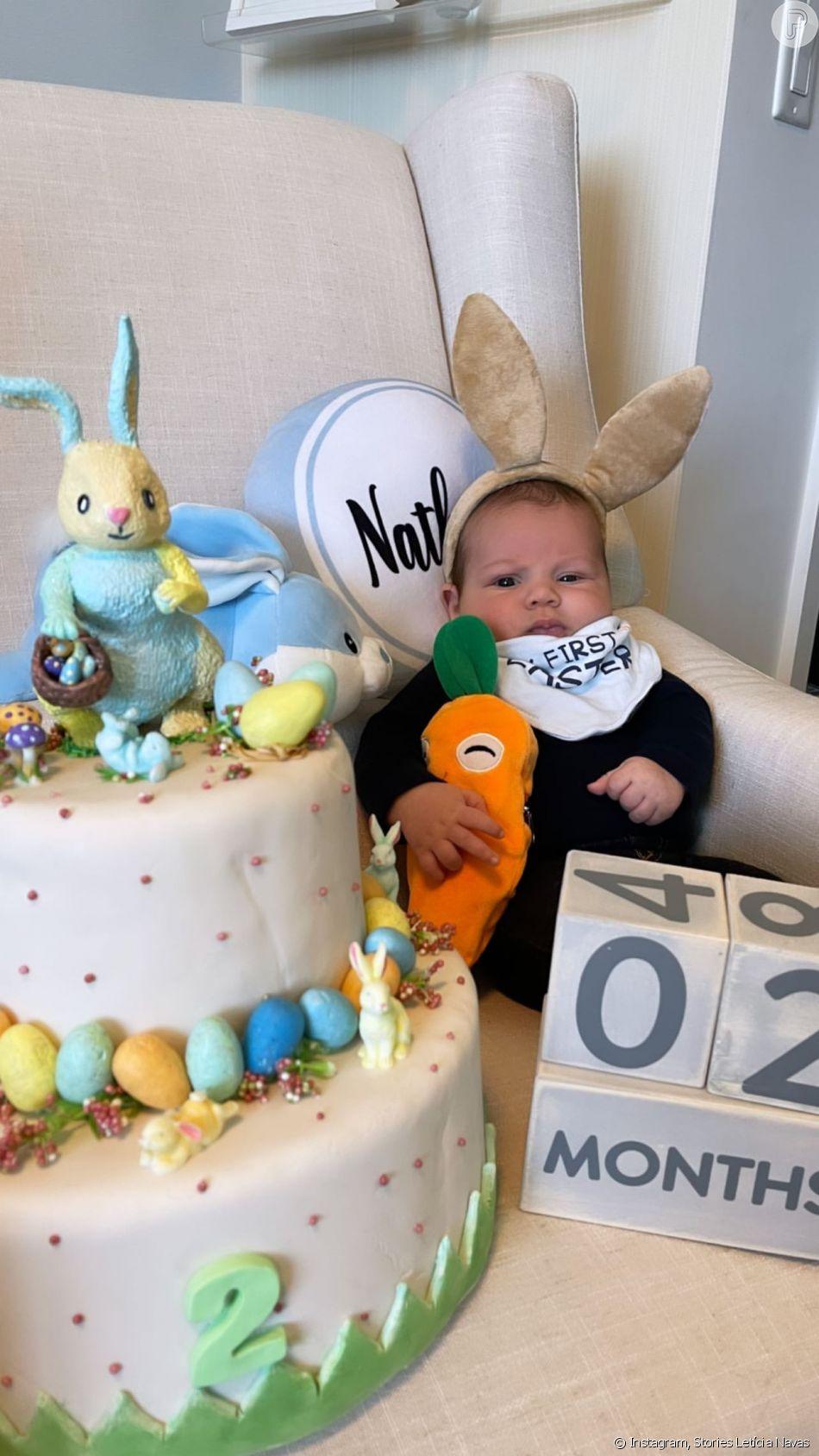 Filho de Letícia Navas, da novela 'Chiquititas', Nathan se fantasiou de coelhinho em seu 2º mesversário