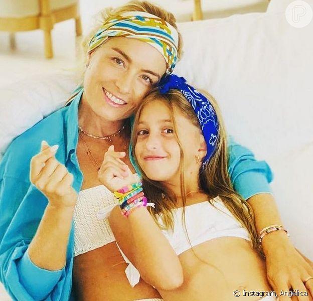 Angélica foi comparada à filha Eva em uma foto quando criança