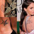 No antebraço direito, Megan Fox tem a imagem de Marilyn Monroe, no tornozelo uma estrela e uma lua e mais algumas frases em outras línguas espalhadas pelo corpo