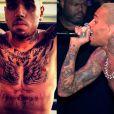 Chris Brown tem os braços fechados e parte do peito por tatuagens