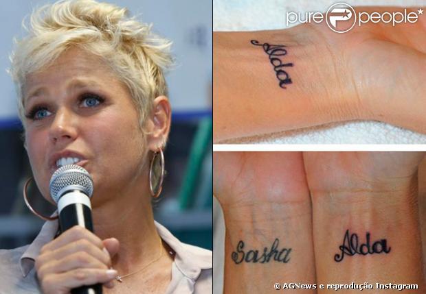 Xuxa tem tatuado nos pulsos o nome da mãe, Alda, e da filha, Sasha