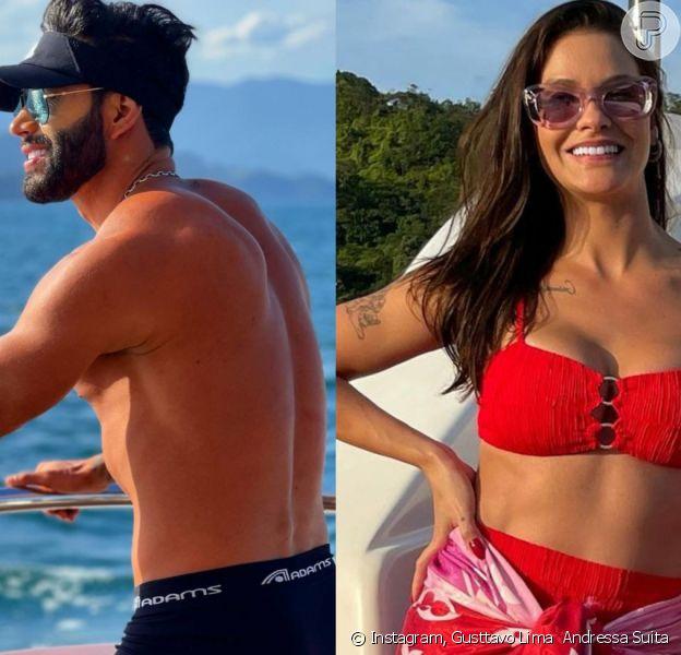 Gusttavo Lima posta foto de sunga e Andressa Suita admite ter feito o clique: 'Fotógrafa'
