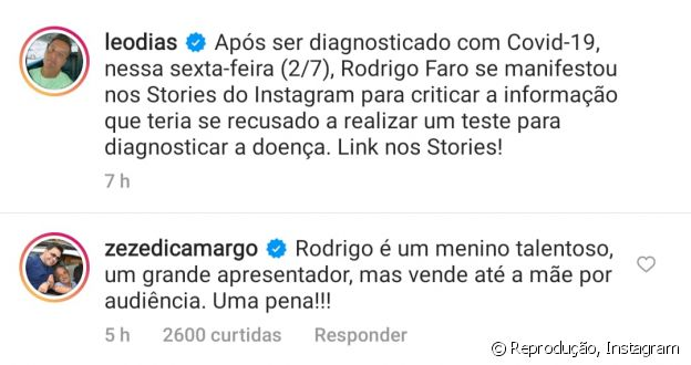 Zezé Di Camargo alfineta Rodrigo Faro no Instagram