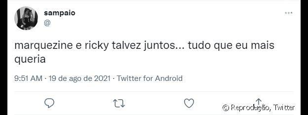 Twitter apoia envolvimento de Bruna com Ricky Tavares
