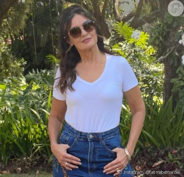 Fátima Bernardes usou calça da filha e fãs aprovaram resultado