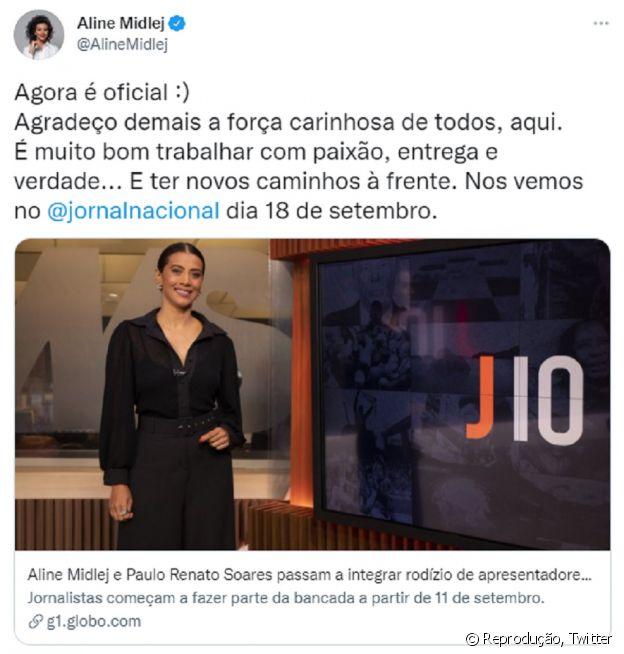 Ailine Midlej comemora anúncio oficial no Twitter