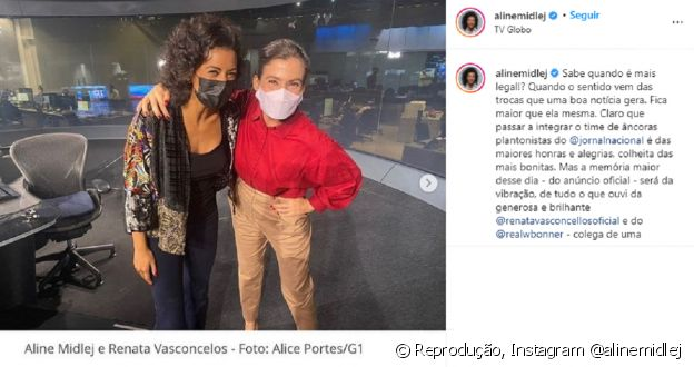 Aline Midlej fez post de agradecimento à recepção recebida por Renata Vasconcellos e William Bonner