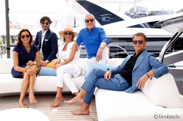 Roberto Justus e Ana Paula Siebert visitam novo modelo de megaiate e conhecem diretores da empresa