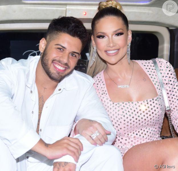 Zé Felipe cantou na festa de lançamento da marca de cosméticos da mulher, Virgínia Fonseca