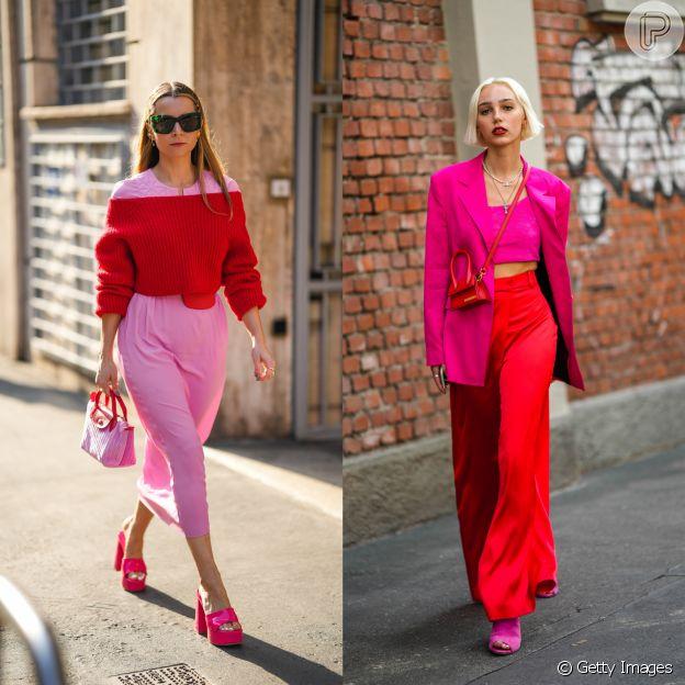 Rosa e vermelho são um duo elegante