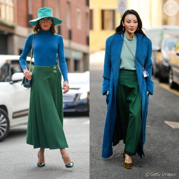 Looks com verde e azul em street style das semanas de moda