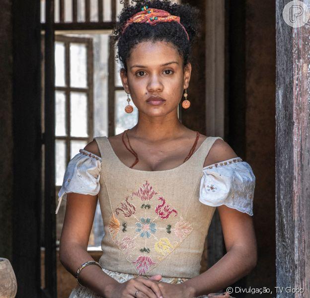 Novela 'Nos Tempos do Imperador': Zayla (Heslaine Vieira) descobre verdade sobre Jorge/Samuel (Michel Gomes) e chantageia Pilar (Gabriela Medvedovski)