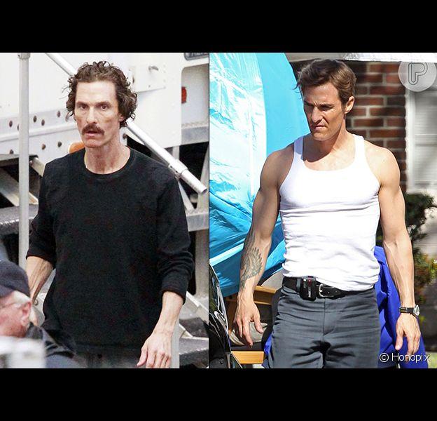 Matthew McConaughey recuperou o peso perdido para rodar seu novo filme, 'True Detectives', como mostra o flagra desta quarta-feira, 13 de março de 2013