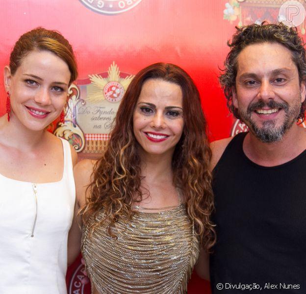 Alexandre Nero, Viviane Araújo e Leandra Leal, da novela 'Império', se encontram na feijoada na quadra da Escola de Samba Salgueiro, no Rio de Janeiro, neste domingo, 11 de janeiro de 2015