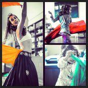 Tânia Khalill, com top e barriga de fora, mostra sensualidade em dança turca