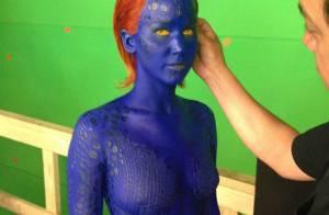 Jennifer Lawrence posa com maquiagem azul de Mística para novo filme dos 'X-Men'