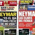 A ida de Neymar para o Barcelona ganhou as capas dos jornais espanhóis