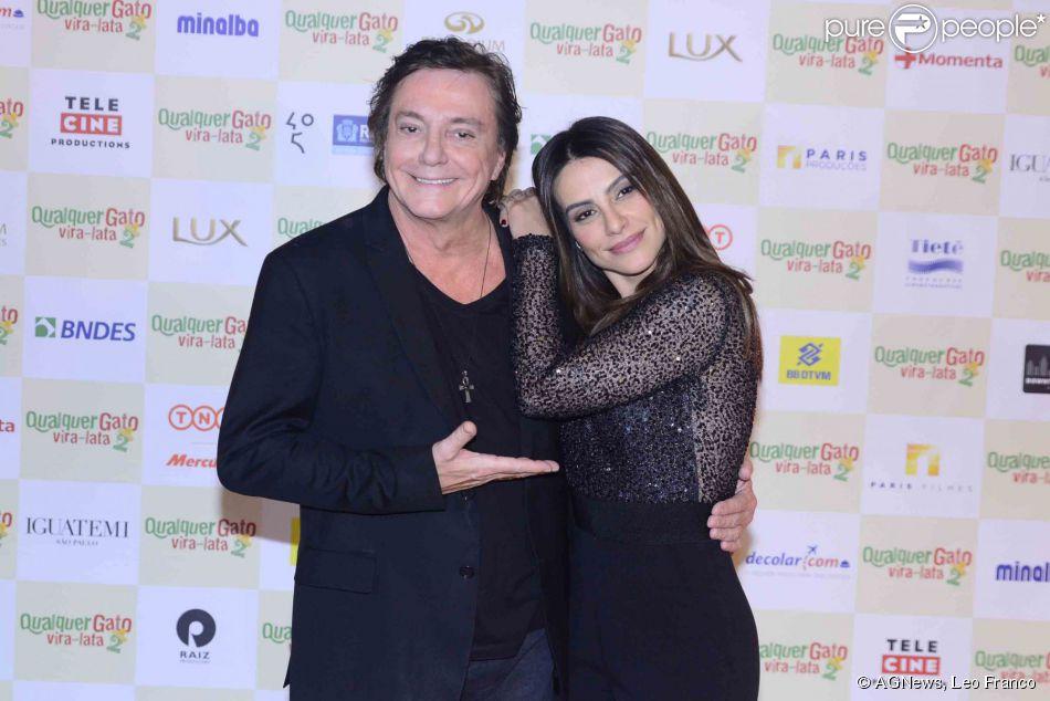 Cleo Pires e Fábio Jr. estiveram em São Paulo na noite desta segunda-feira, 25 de maio de 2015, na pré-estreia de 'Qualquer Gato Vira-Lata 2', comédia na qual contracenam