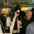 Kendal Jenner desembarcou no Aeroporto Internacional de Guarulhos, em São Paulo, na manhã desta quinta-feira, 28 de maio de 2015