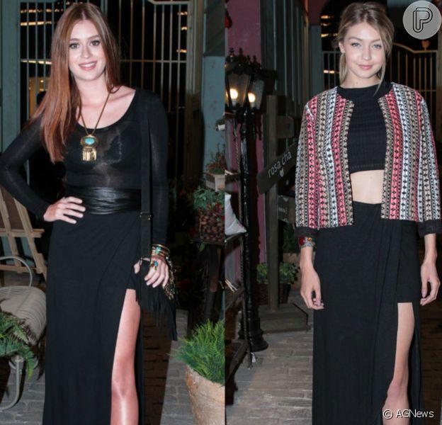 Marina Ruy Barbosa e Gigi Hadid usam mesma saia no lançamento da nova coleção da marca Rosa Chá, em São Paulo, nesta terça-feira, 9 de junho de 2015