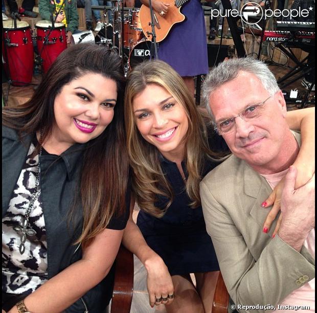 Grazi Massafera publica foto ao lado de Pedro Bial e Fabiana Karla, em 7 de julho de 2013