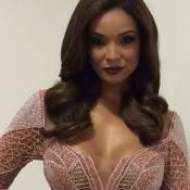 Carol Nakamura usa vestido sexy e Faustão brinca: 'Ficou só a cortina'