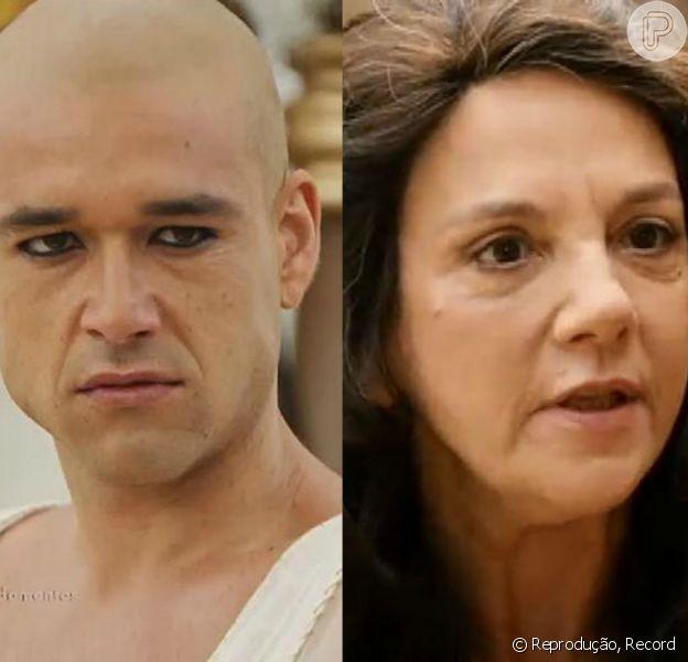 Novela 'Os Dez Mandamentos': Ramsés (Sergio Marone) anuncia que seis hebreus devem ser enforcados, um para cada praga, e que Joquebede (Denise Del Vecchio) é um deles