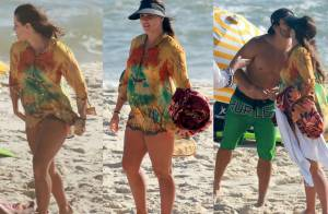 Aos 7 meses de gravidez, Deborah Secco curte praia com Hugo Moura e amigos