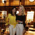 Aninha Lima e Giovanna Ewbank apostaram na calça branca para comparecer à coletiva de imprensa de 'Joia Rara', próxima novela das seis
