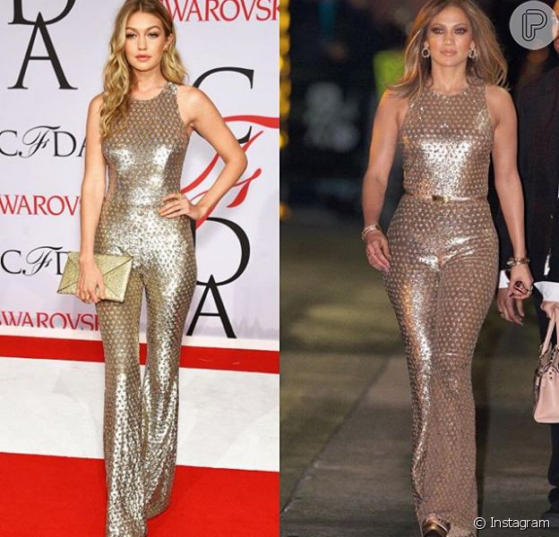 Jennifer Lopez usou nestar terça-feira, dia 05 de dezembro de 2016, um macacão dourado já escolhido pela modelo Gigi Hadid