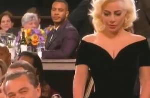 Leonardo DiCaprio se explica por risadas pelas costas de Lady Gaga: 'Não sabia'