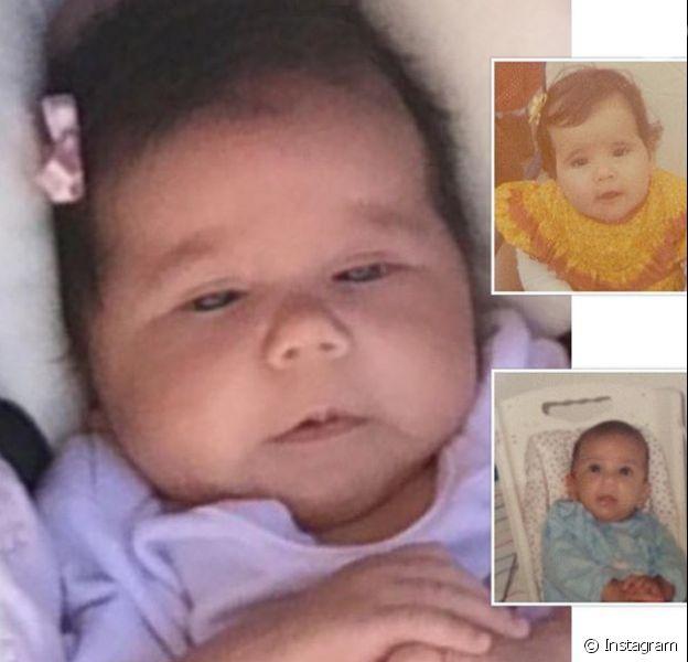 Deborah Secco fez uma montagem nesta terça-feira, 12 de janeiro de 2016, e comparou o rosto da filha, Maria Flor, com o seu e o do marido, Hugo Moura, quando eles eram bebês