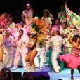 Passistas, mestre-sala e porta-bandeira e a bateria da Mangueira se apresentam no 'Show de Verão da Mangueira', no Tom Brasil, em São Paulo, nesta quarta-feira, 27 de janeiro de 2016