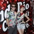 Julianne Trevisol levou o namorado, Christian Monassa, à feijoada da Grande Rio em hotel de São Conrado, Zona Sul do Rio de Janeiro, neste sábado, 30 de janeiro de 2016