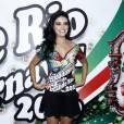 Paloma Bernardi compareceu à feijoada da Grande Rio em hotel de São Conrado, Zona Sul do Rio