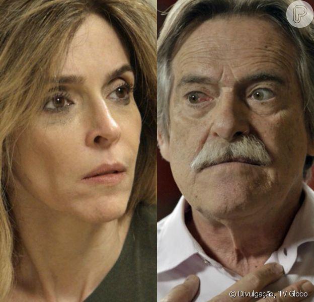 Kiki (Deborah Evelyn) chantageia Gibson (José de Abreu) e exige que ele lhe entregue Aninha (Leticia Braga), ou então o entrega à polícia, na novela 'A Regra do Jogo', em 16 de fevereiro de 2016