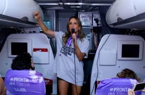 Claudia Leitte canta dentro de avião: 'É o esquenta para o Carnaval'. Vídeo!