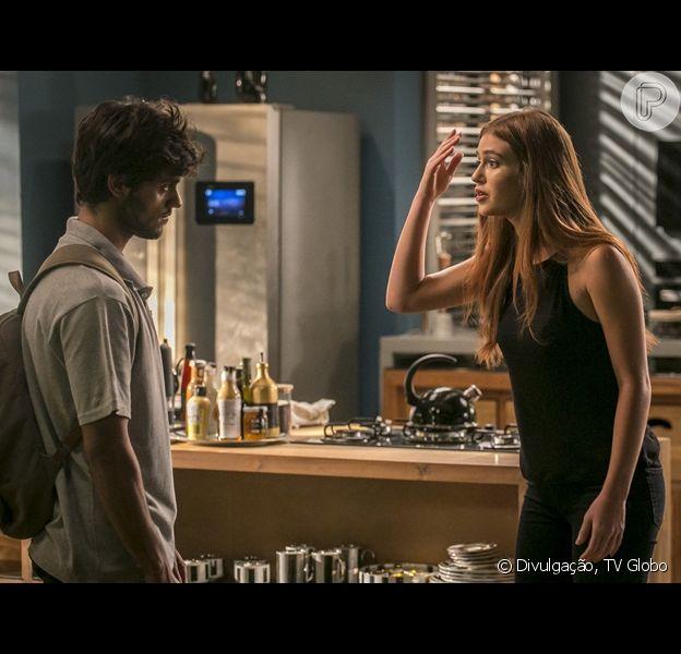 Eliza (Marina Ruy Barbosa) e Jonatas (Felipe Simas) voltarão a se ver, mas o encontro será marcado por briga em 'Totalmente Demais'