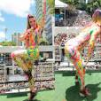 Musa dos anos 1990 como dançarina do grupo É O Tchan, Carla Perez continua arrasando em cima dos trios, mas comandando o bloco infantil Algodão Doce nos dias de folia. A cantora usa e abusa das cores