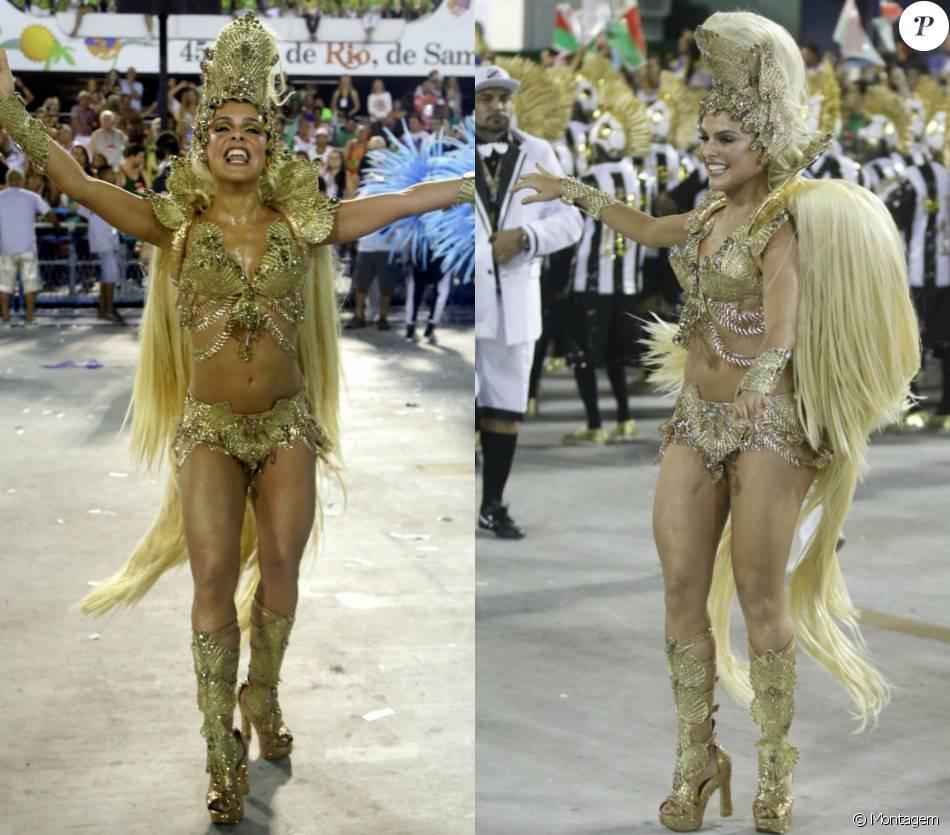 Paloma Bernardi investiu R$ 70 mil em seu figurino de estreia como rainha de bateria da Grande Rio. Cabelos loiros reais no lugar de penas foi o que mais chamou atenção