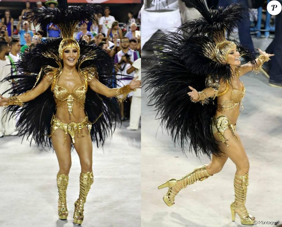 Claudia Leitte veio com figurino de R$ 100 mil, banhado a ouro, representando a Mocidade Independente de Padre Miguel neste domingo, 7 de fevereiro de 2016