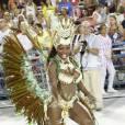 Elaine Caetano é rainha de bateria da Renascer de Jacarepaguá, que teve como tema 'Ibejís - Nas brincadeiras de crianças: Os orixás que viraram santos no Brasil'